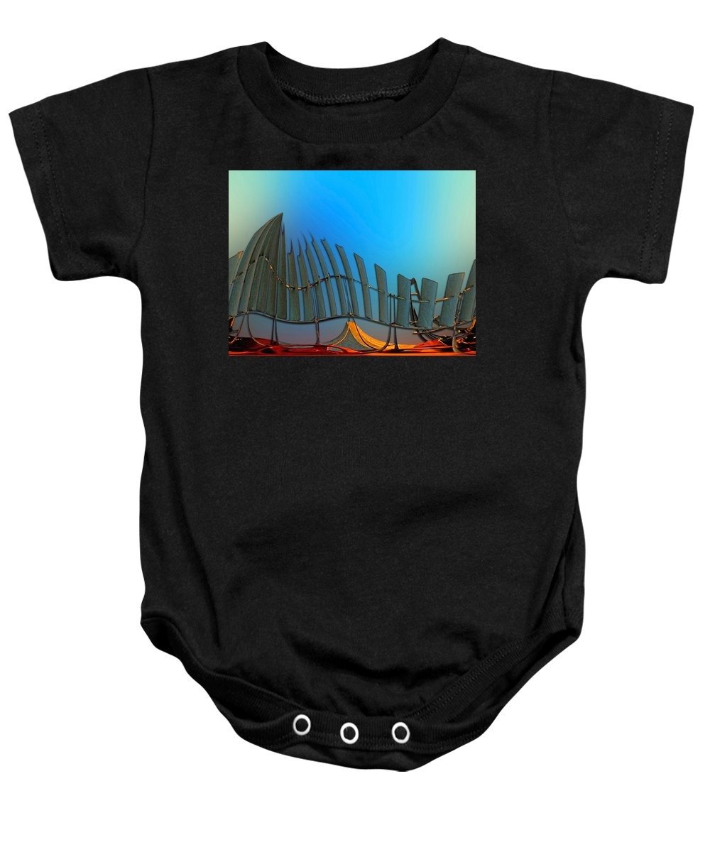 Abstract Baby Onesie featuring the digital art Da Vinci's Outpost by Wendy J St Christopher