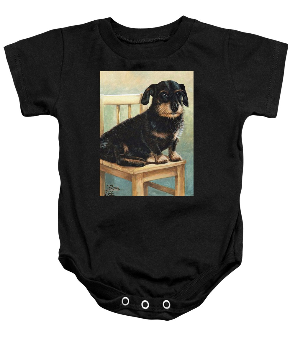 Dog Baby Onesie featuring the painting Dachshund by Nicole Zeug