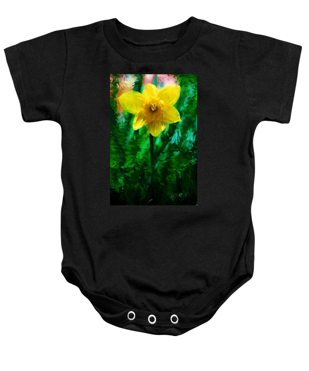 Abstract Baby Onesie featuring the photograph Daffy Dill by David Lane