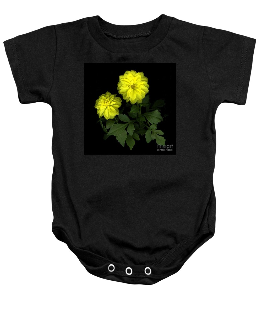 Yellow Baby Onesie featuring the photograph Dahlia by Christian Slanec