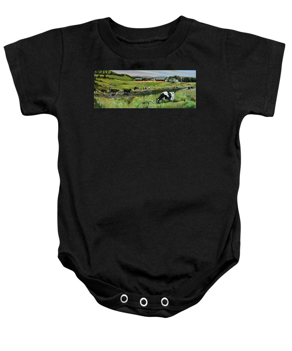 Landscape Baby Onesie featuring the painting Dairy Farm Dream by Nancy Griswold