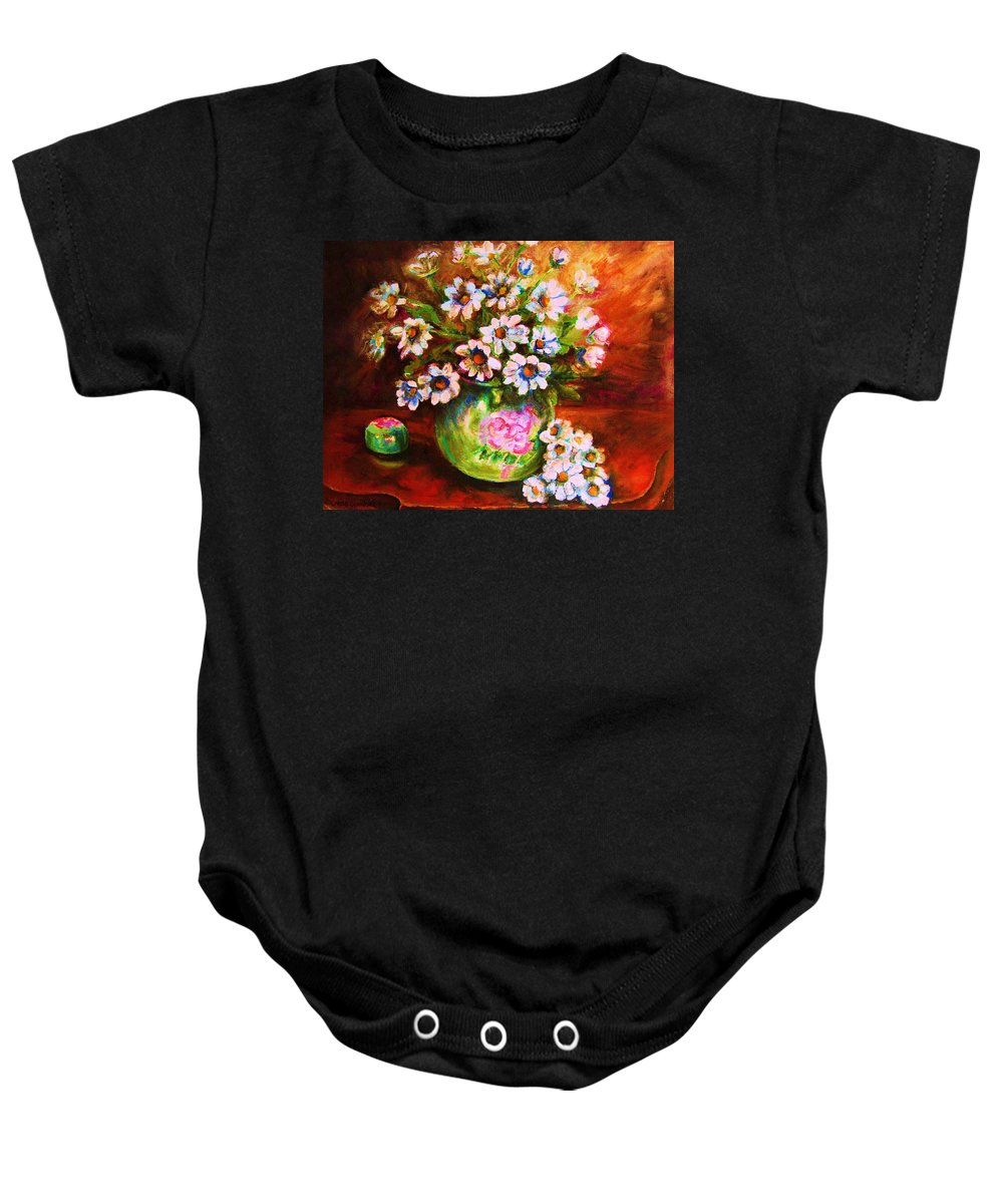 Daisies Baby Onesie featuring the painting Daisies And Ginger Jar by Carole Spandau