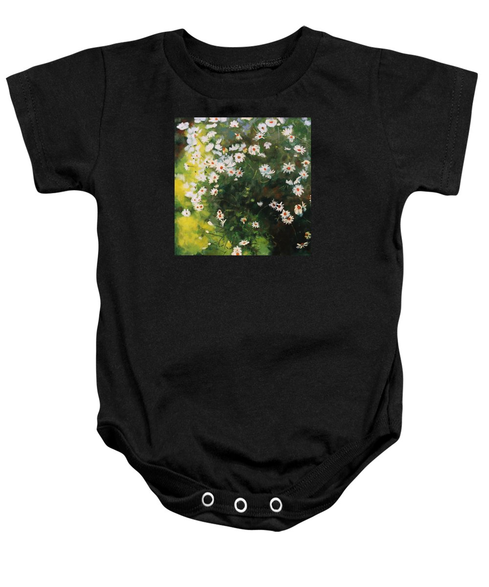 Daisies Baby Onesie featuring the painting Daisies by Iliyan Bozhanov