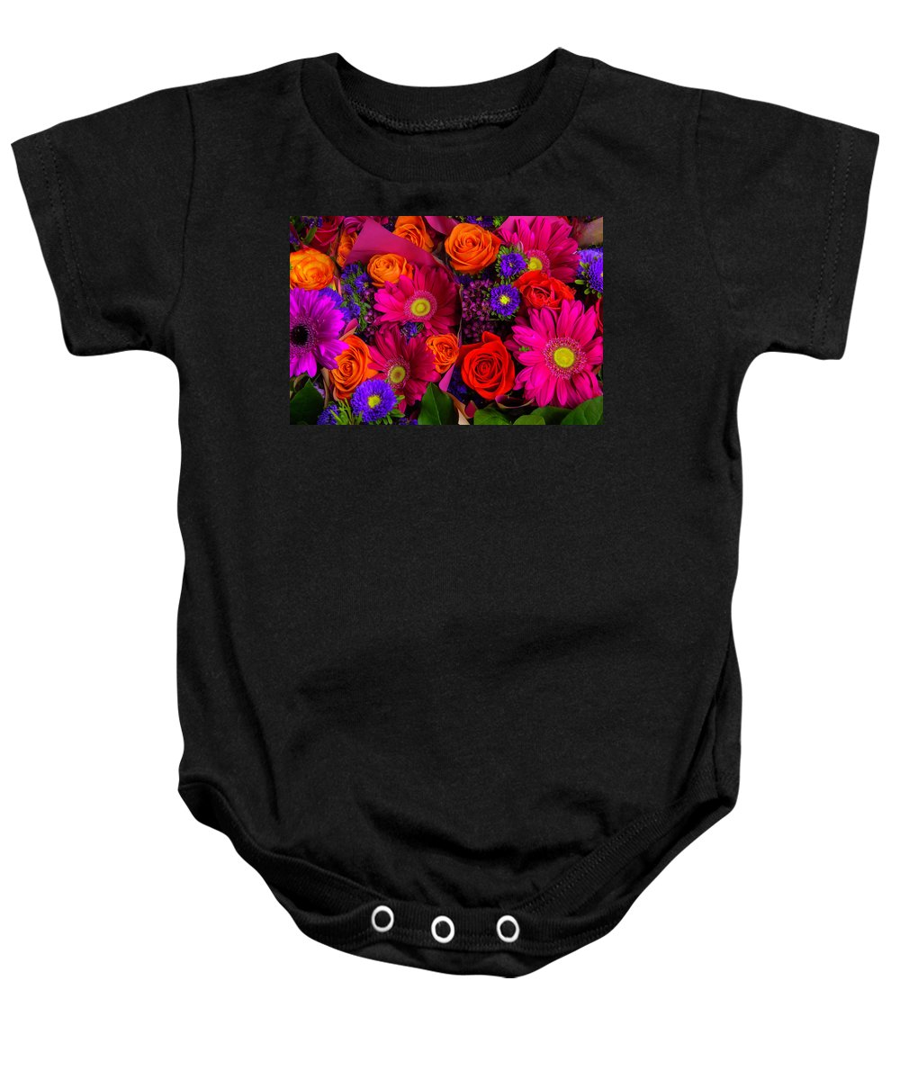 Rose Baby Onesie featuring the photograph Daisy Rose Bouquet by Garry Gay