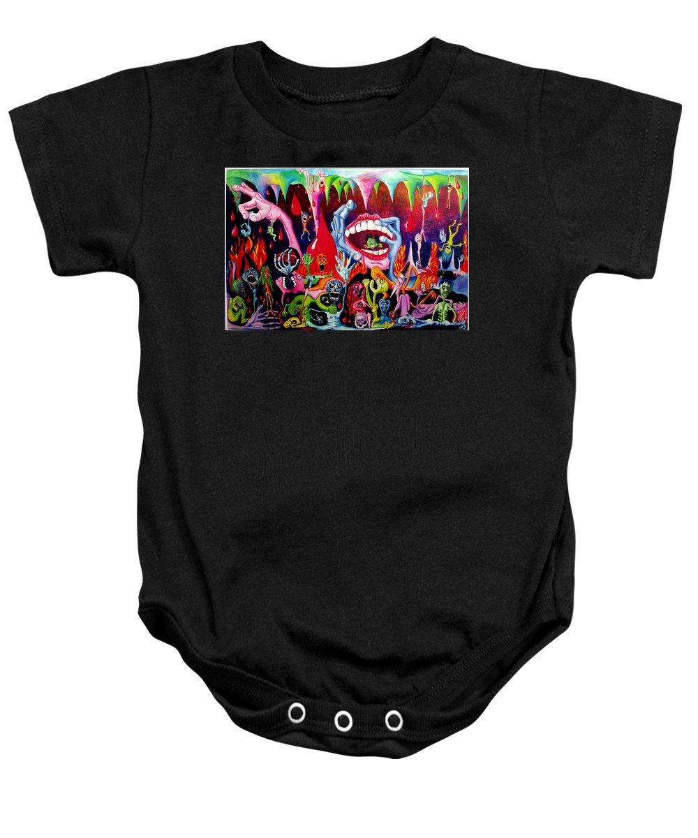 Hell Baby Onesie featuring the painting Damnation Of The Evil by Nancy Mueller