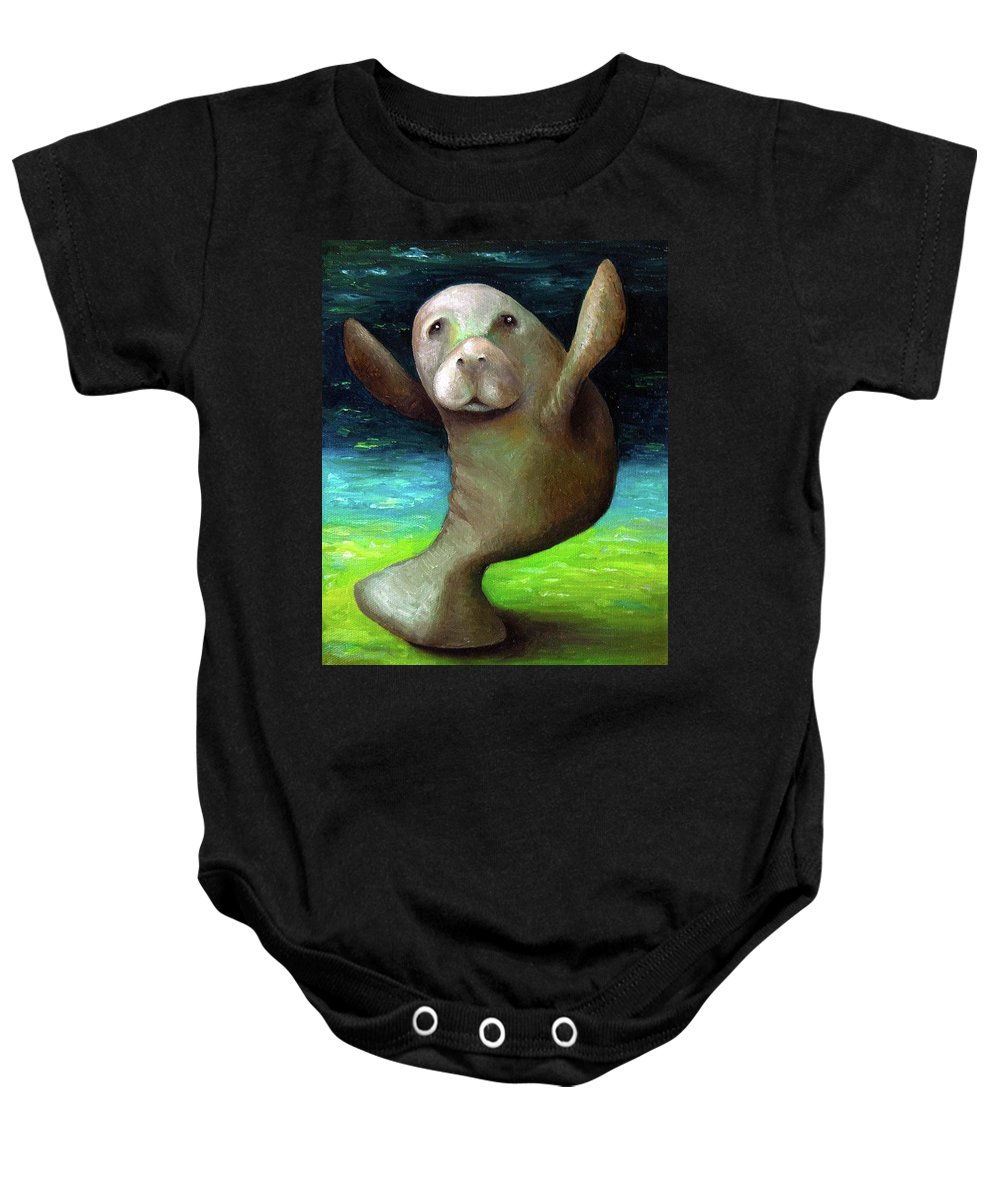 Manatee Baby Onesie featuring the painting Dance Of The Manatee by Leah Saulnier The Painting Maniac