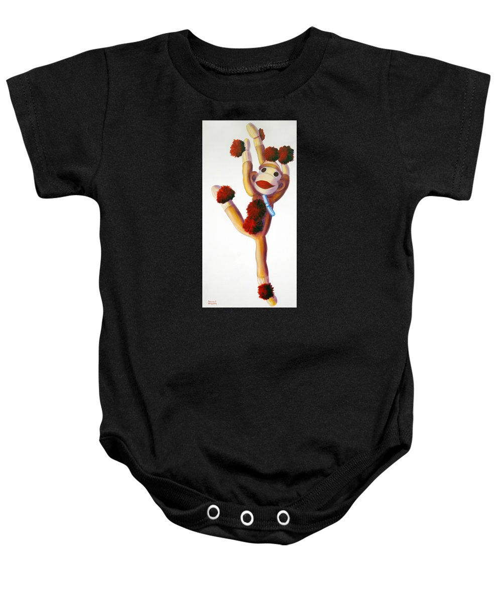 Dancer Baby Onesie featuring the painting Dancer Made Of Sockies by Shannon Grissom