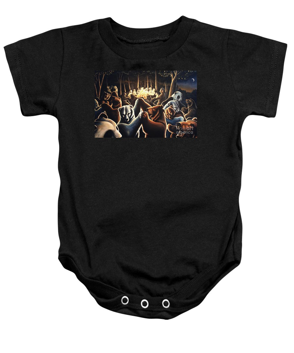 Bears Baby Onesie featuring the painting Dancing Bears Painting by Kim Hunter