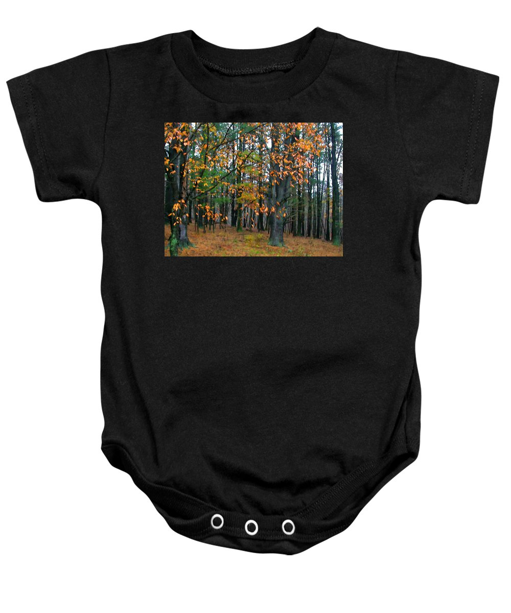 Autumn Baby Onesie featuring the painting Dancing Leaves by Paul Sachtleben
