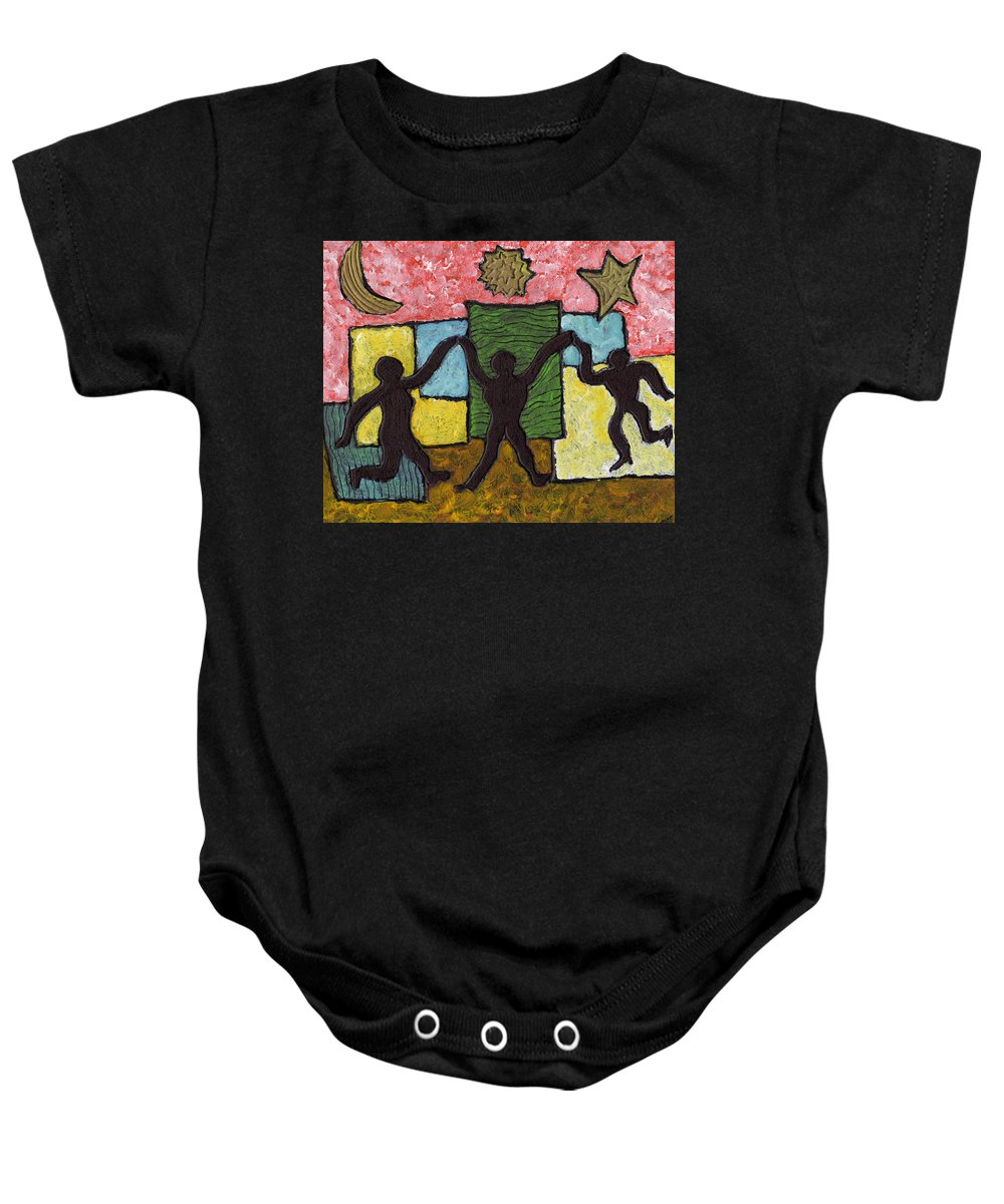 Dancing Baby Onesie featuring the painting Dancing With The Stars...and The Sun And The Moon by Wayne Potrafka