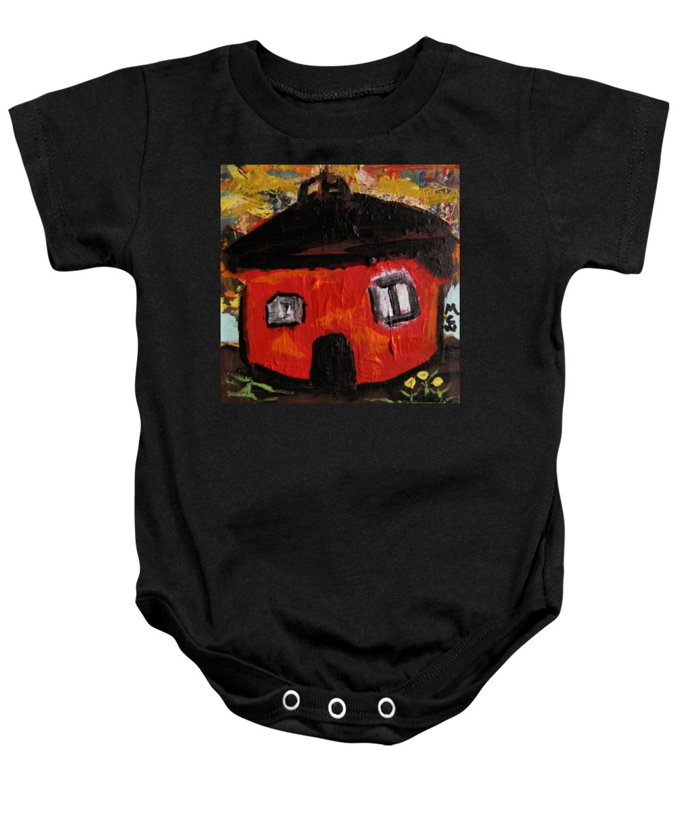 Barn Baby Onesie featuring the painting Dandelions By Red Barn By Mcw by Mary Carol Williams