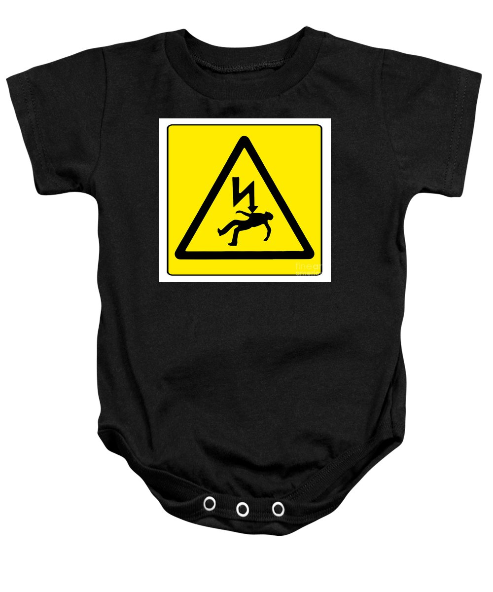Danger Baby Onesie featuring the digital art Danger Electricity by Bigalbaloo Stock