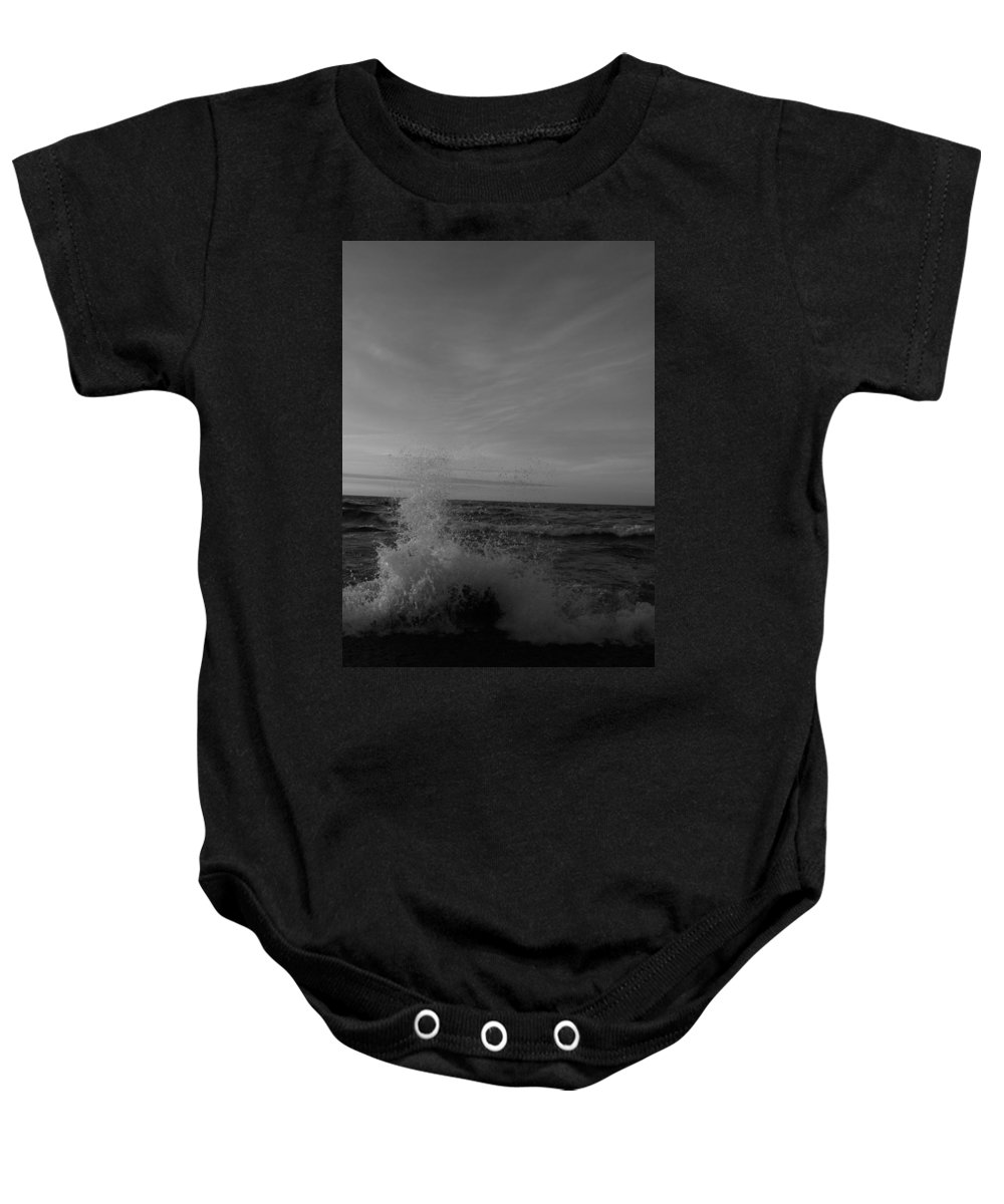 Pure Baby Onesie featuring the photograph Dark Angry Lake by Two Bridges North