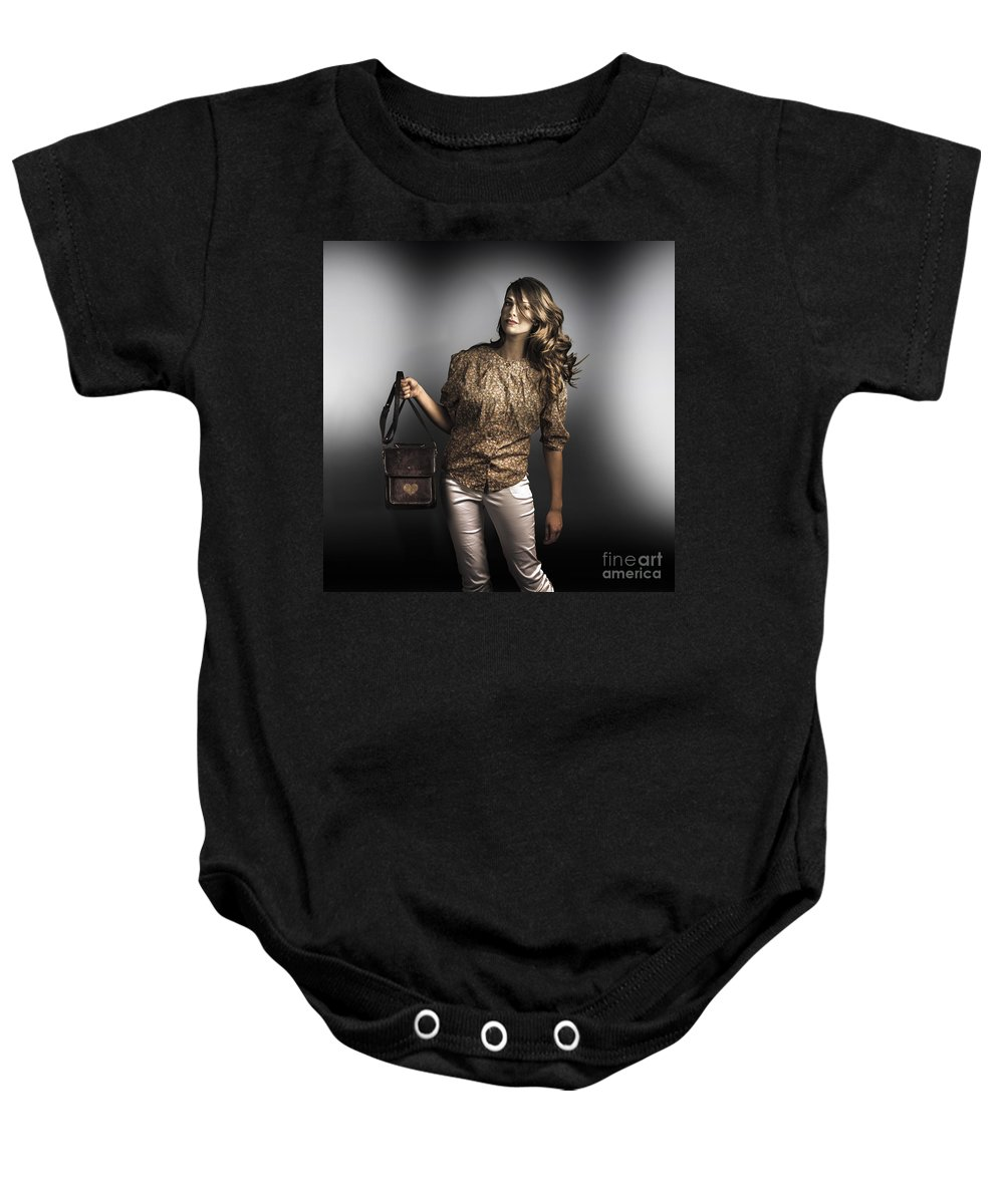 Accessories Baby Onesie featuring the photograph Dark Fashion Style With Fashionable Bag Accessory by Jorgo Photography - Wall Art Gallery