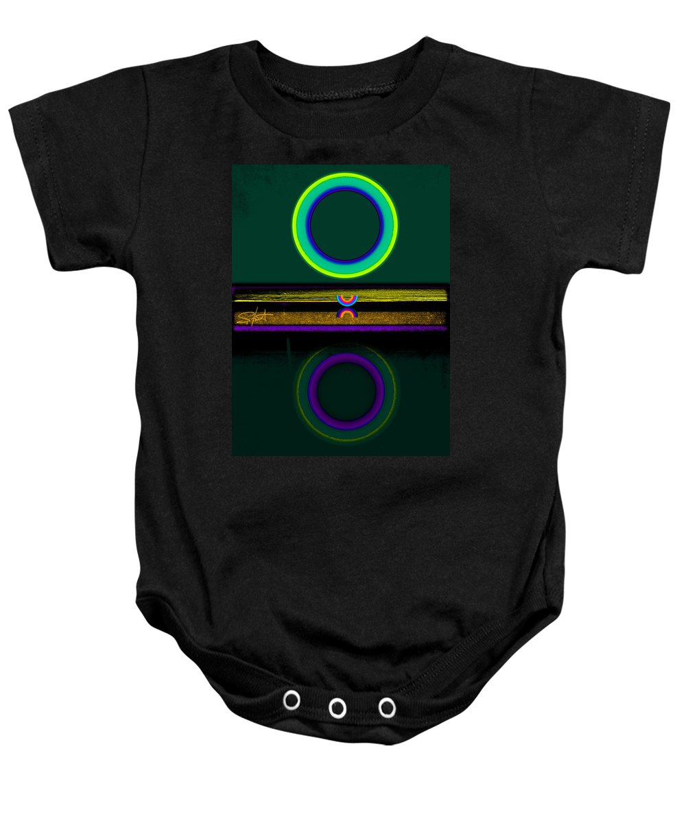 Reflections Baby Onesie featuring the painting Dark Green Lake by Charles Stuart
