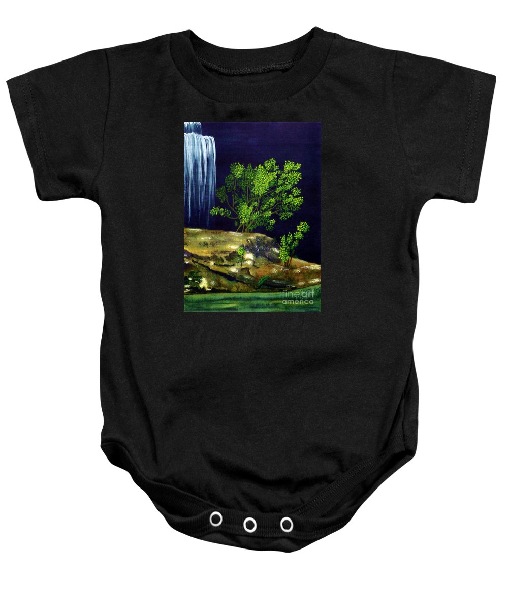 Fine Art Baby Onesie featuring the painting Dark Waters by Patricia Griffin Brett