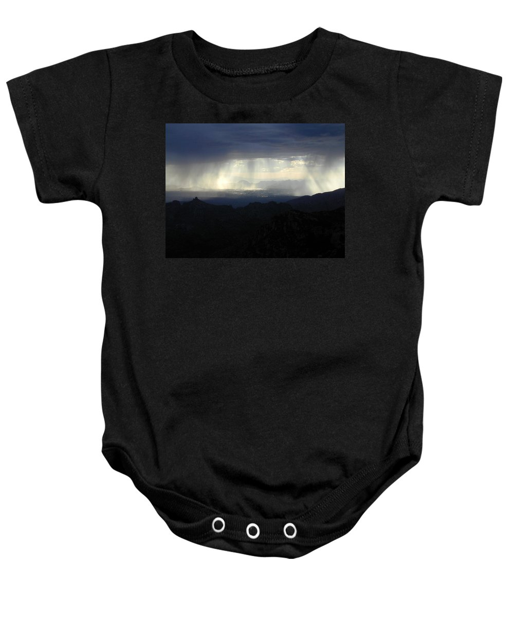 Darkness Baby Onesie featuring the photograph Darkness Over The City by Douglas Barnett