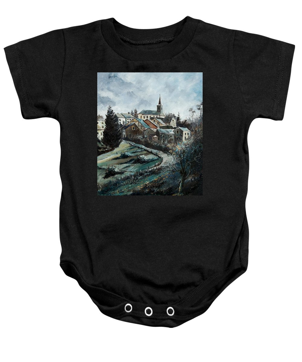 Village Baby Onesie featuring the painting Daverdisse 78 by Pol Ledent