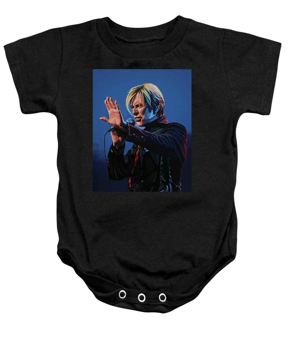 David Bowie Baby Onesie featuring the painting David Bowie Live Painting by Paul Meijering