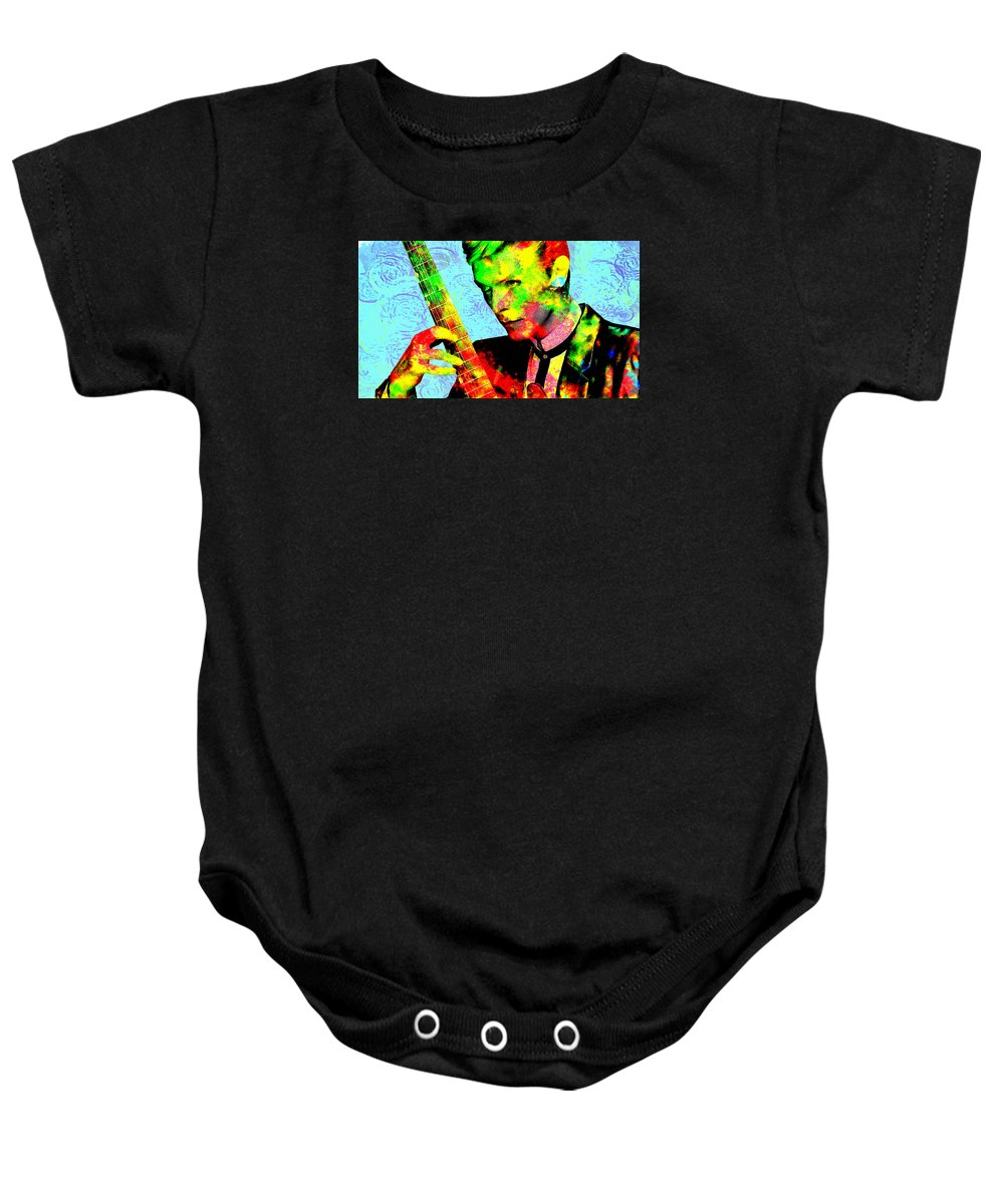 Musician Baby Onesie featuring the painting David Bowie by Galeria Trompiz
