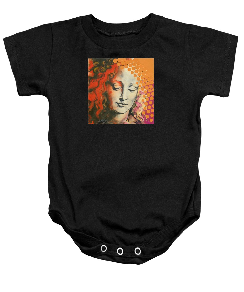 Figurative Baby Onesie featuring the painting Davinci's Head by Jean Pierre Rousselet
