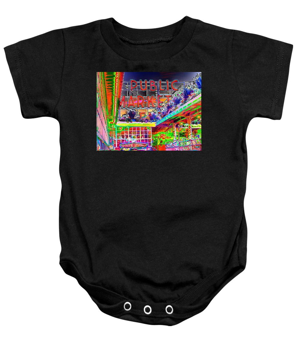 Seattle Baby Onesie featuring the photograph Day At The Market by Tim Allen