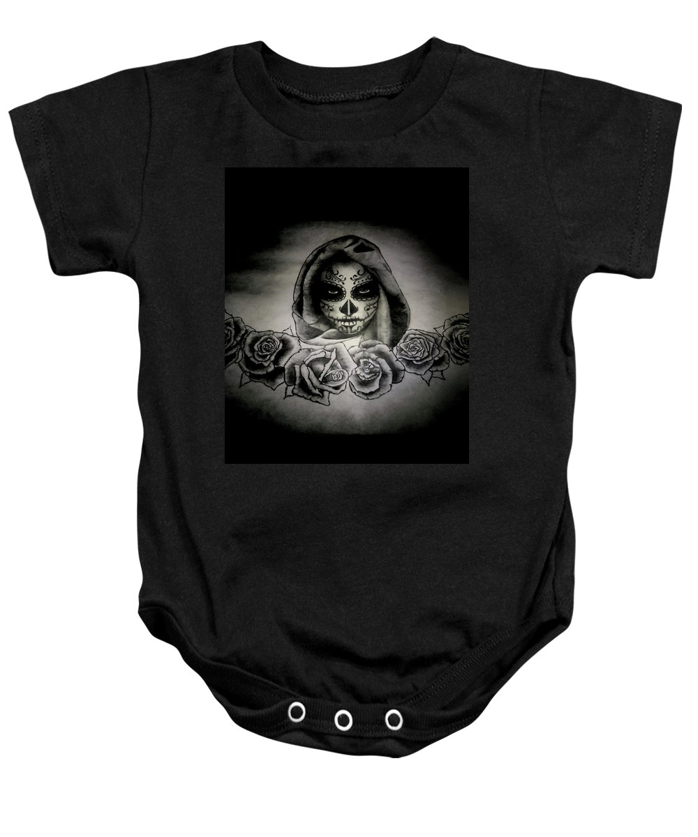 Day Baby Onesie featuring the painting Day Of The Dead by Alexander Dumas