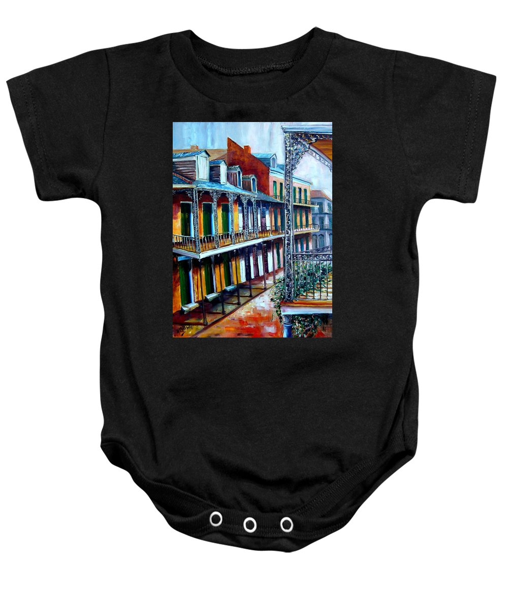 New Orleans Baby Onesie featuring the painting Daybreak On St. Ann Street by Diane Millsap