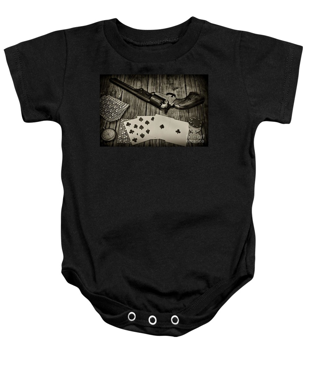 Paul Ward Baby Onesie featuring the photograph Dead Mans Hand Black And White by Paul Ward