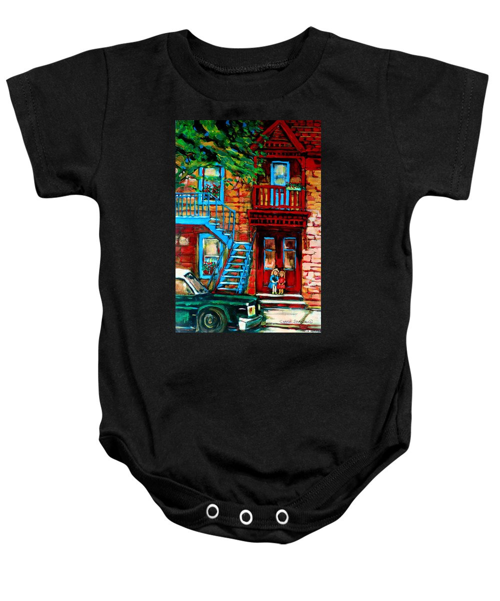 Montreal Streetscenes Baby Onesie featuring the painting Debullion Street Neighbors by Carole Spandau
