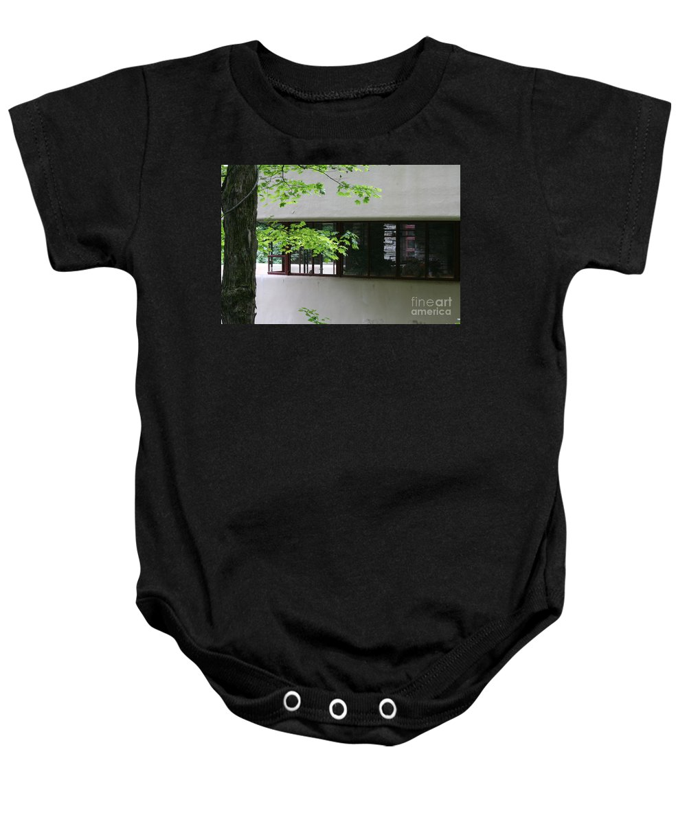 Falling Water Baby Onesie featuring the photograph Deck Fallingwater Windows by Chuck Kuhn