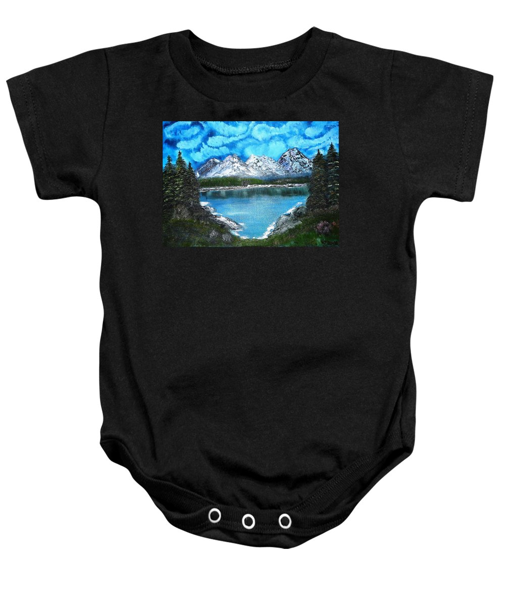Landscape Baby Onesie featuring the painting Deep Mountain Lake by Valerie Ornstein