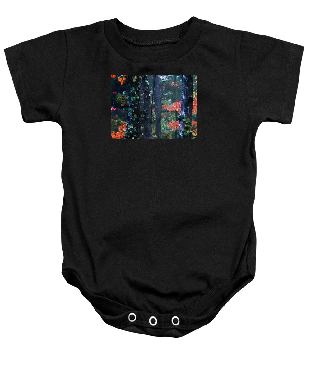 Landscape Baby Onesie featuring the digital art Deep Woods Mystery by Dave Martsolf