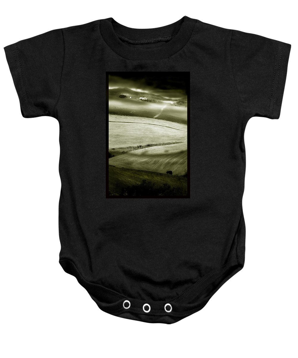 Landscape Baby Onesie featuring the photograph Deepening Shadows by Mal Bray