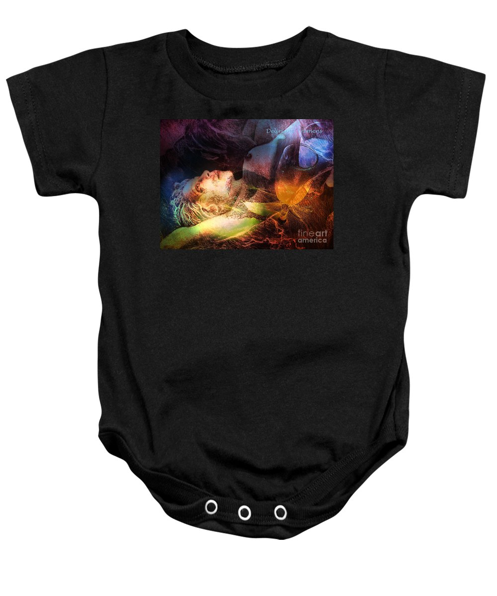 Fantasy Baby Onesie featuring the painting Delirium Tremens by Miki De Goodaboom