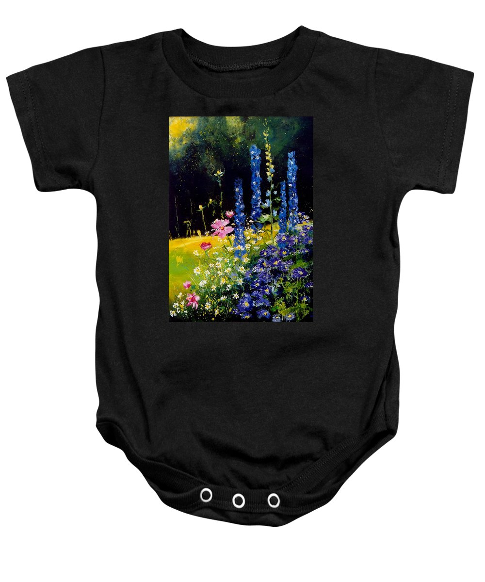 Poppies Baby Onesie featuring the painting Delphiniums by Pol Ledent
