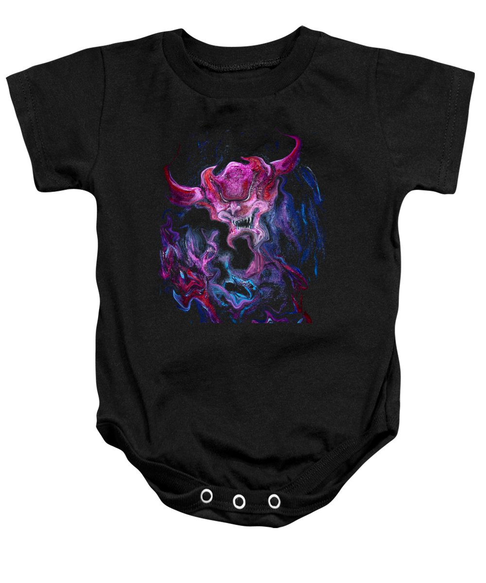 Demon Baby Onesie featuring the painting Demon Fire by Kevin Middleton