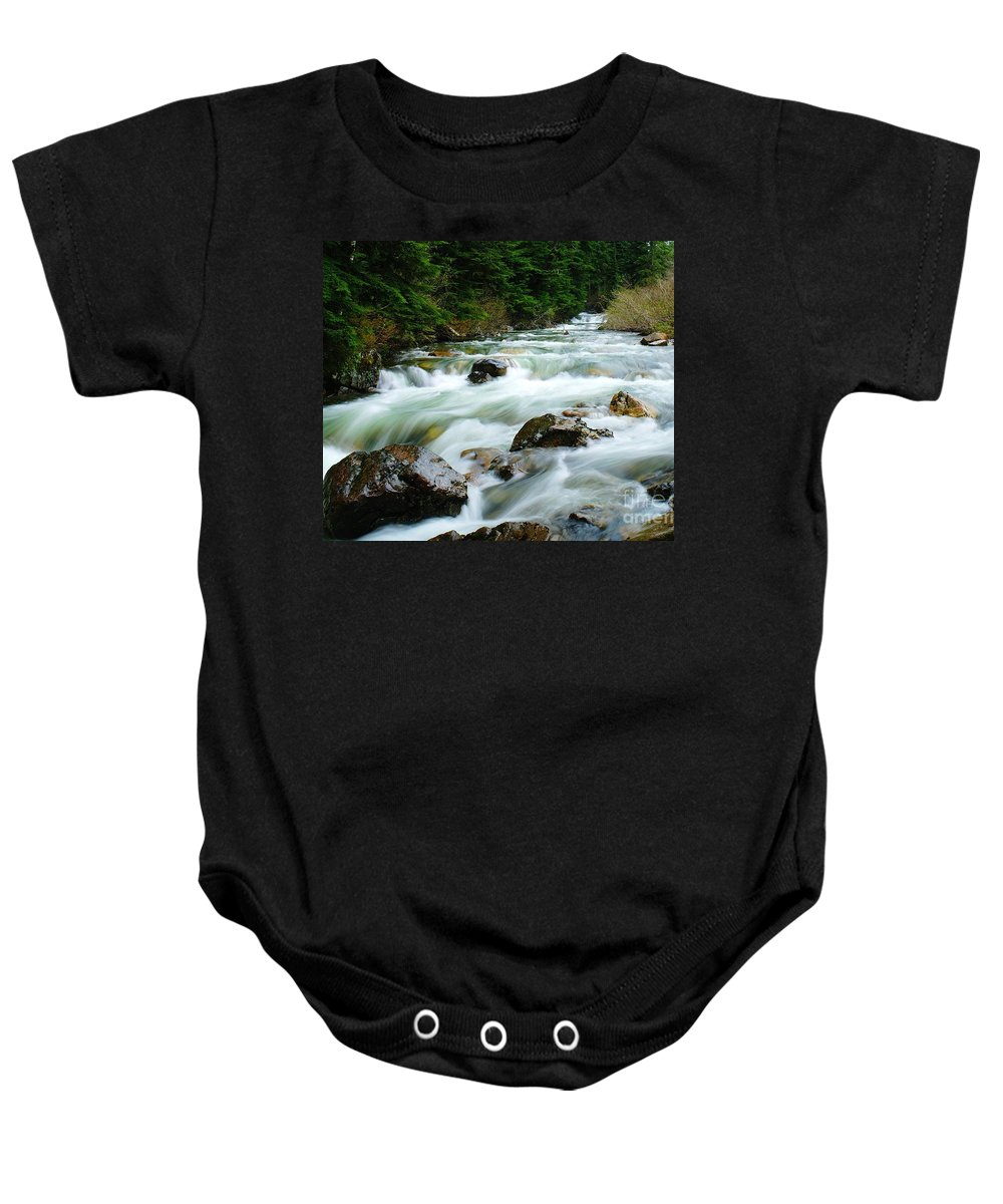 Rivers Baby Onesie featuring the photograph Denny Creek by Jeff Swan
