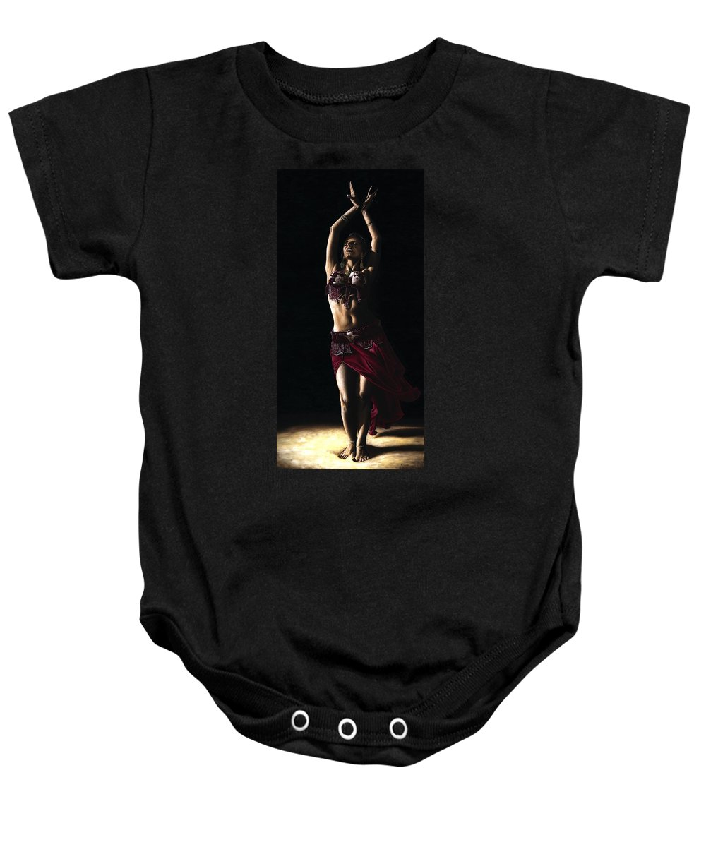 Dancer Baby Onesie featuring the painting Desert Dancer by Richard Young
