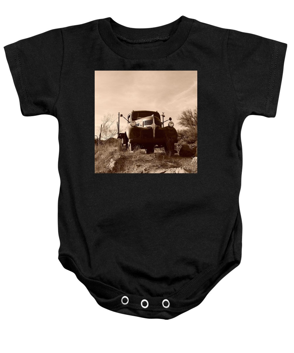 Car Art Baby Onesie featuring the photograph Desert Rat Flatbed by Bill Tomsa