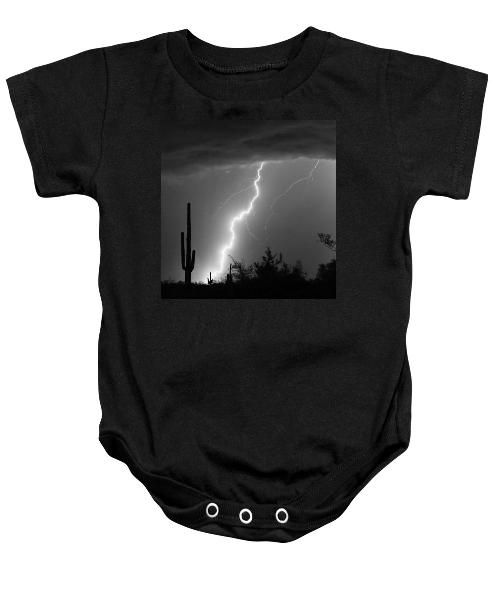 Black And White Baby Onesie featuring the photograph Desert Striking In Black And White by James BO Insogna