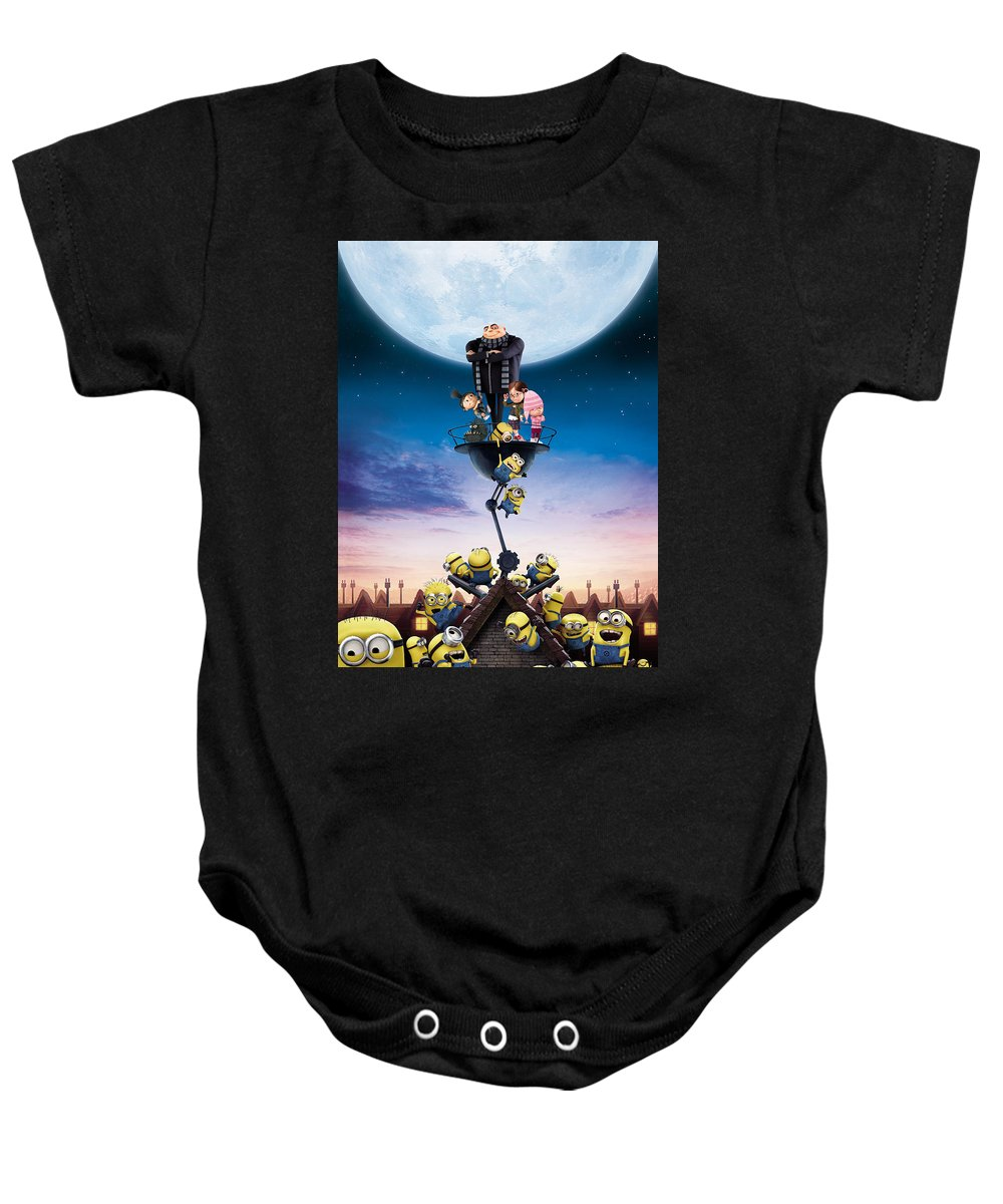 Despicable Me 2010 Baby Onesie featuring the digital art Despicable Me 2010 by Geek N Rock