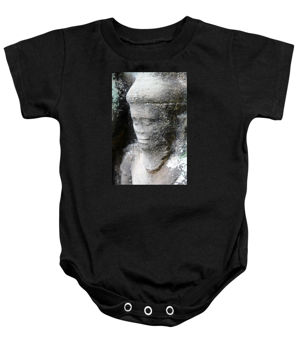 Pray Baby Onesie featuring the photograph Detail Of Stone Carving Near Angkor Wat, Cambodia by John Cumbow