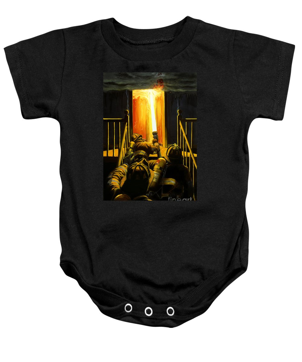 Firefighting Baby Onesie featuring the painting Devil's Stairway by Paul Walsh