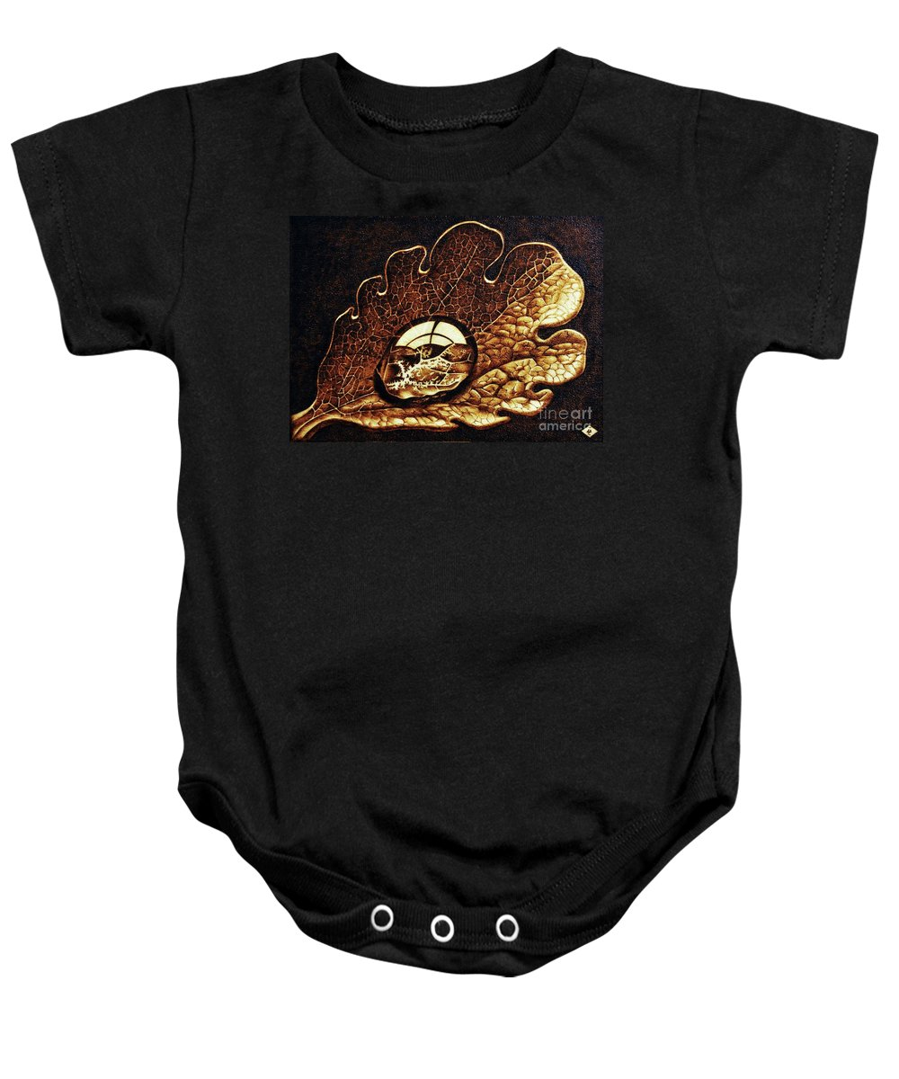 Dewdrop On A Leaf Baby Onesie featuring the pyrography Dewdrop On A Leaf by Ilaria Andreucci