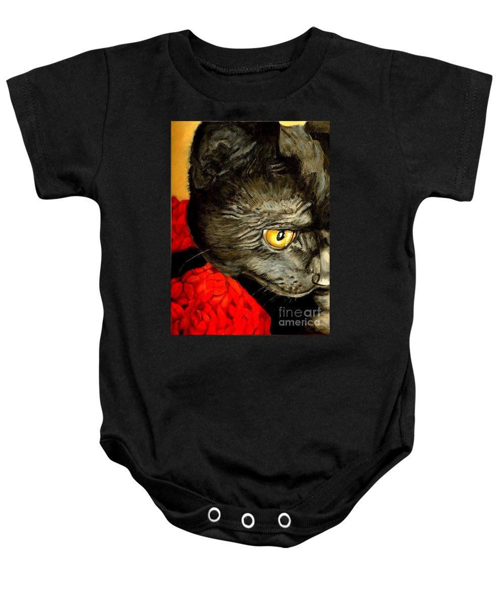 Animal Painting Baby Onesie featuring the painting Diego The Cat by Portraits By NC