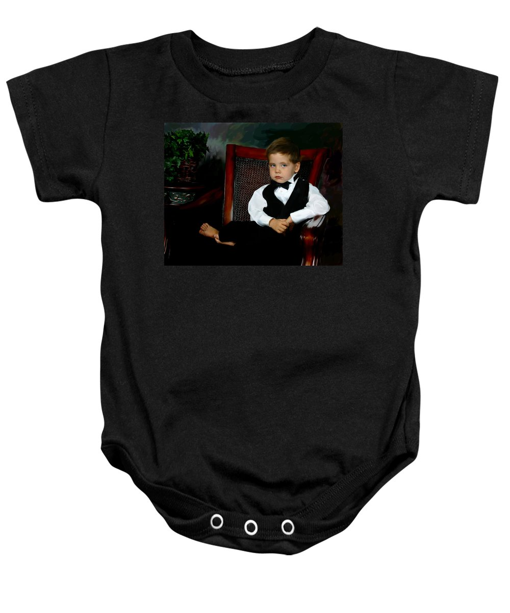 Painting Baby Onesie featuring the digital art Digital Art Painting Of My Son by Anthony Jones