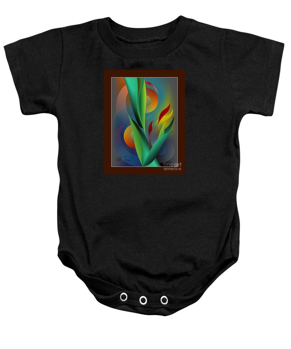 Digital Garden Baby Onesie featuring the digital art Digital Garden Dreaming by Leo Symon