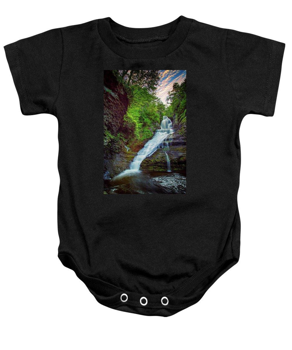Dingman's Falls Baby Onesie featuring the photograph Dingmans Falls by Rick Berk