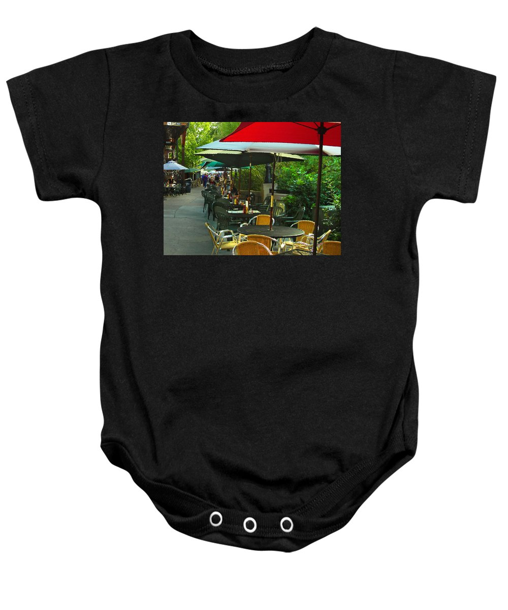 Cafe Baby Onesie featuring the photograph Dining Under The Umbrellas by James Eddy